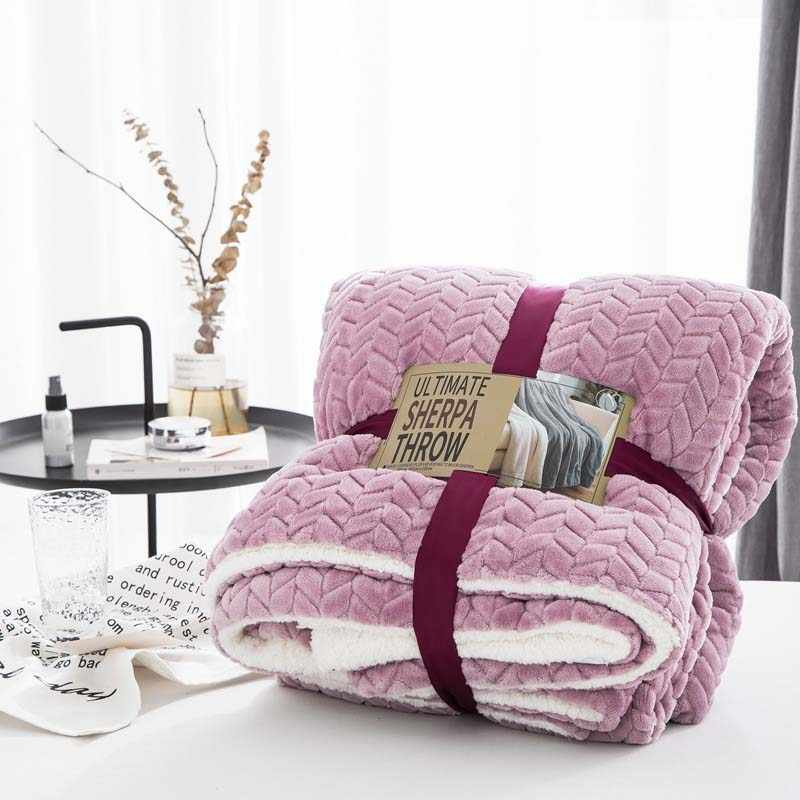 Doppel Schicht Winter Warme Decke Berber Fleece Dicken Quilt Plaid Baby Bettdecke Frauen Manta Baby Tröster