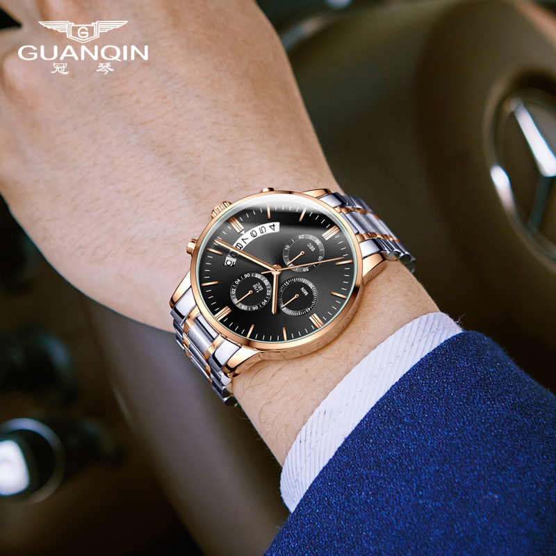 GUANQIN Relogio Masculino นาฬิกาผู้ชายหรูหราแบรนด์ที่มีชื่อเสียงผู้ชายแฟชั่น Casual นาฬิกานาฬิกาข้อมือควอตซ์ทหาร Saat