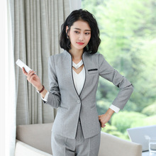 2019 autumn and winter new long-sleeved women's suit Temperament Slim Gray Busin