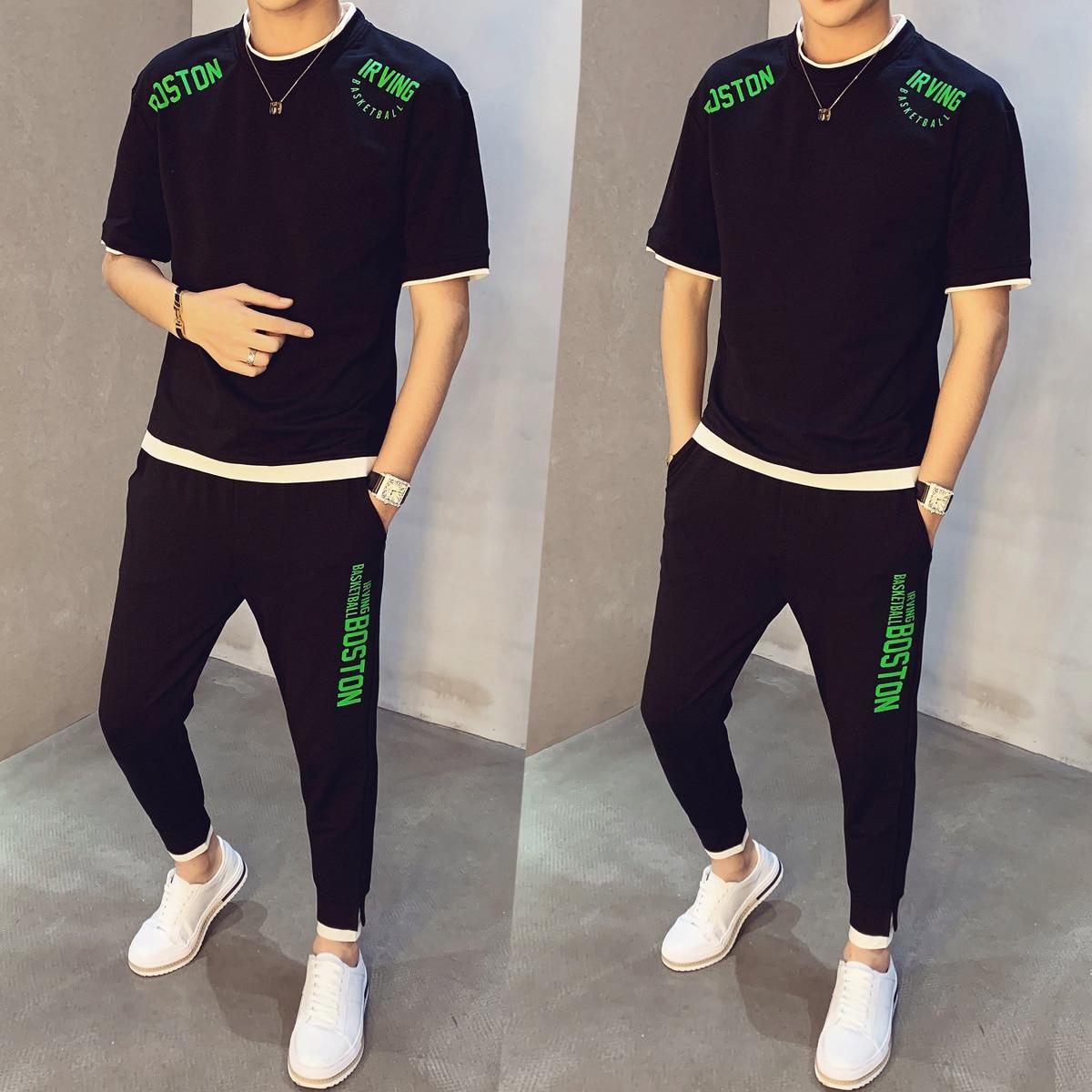 Set Men Short Sleeve T-shirt + Pant Moda Hombre Sweat Suit 2020 Spring Tracksuit Men Print Track Suit 2 Pieces Causal Hip Hop