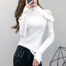 sweet ruffle mesh off shoulder long sleeve T-shirt women half high collar Pullover Sweater slim bottom spring autumn clothing(China)