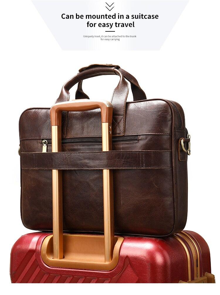 Bolso WESTAL de cuero para hombres, maletín para hombres, bolsas para hombres, bolso de cuero genuino para hombres, bolso de mano para hombres - 2