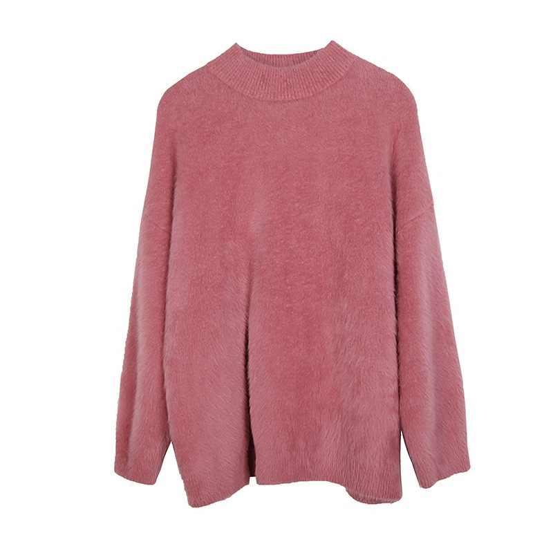2019 otoño invierno coreano casual suave mujer suéter pulóveres de manga larga split-breasted terciopelo suéter mujer suéter tejido
