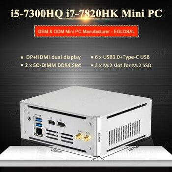 Newest Intel Core i5 7300HQ i7 7820HK Gaming Mini Computer Windows Tiny Size PC Quad Core NUC 2M.2 NVME SSD DP HDMI 4K HD Player