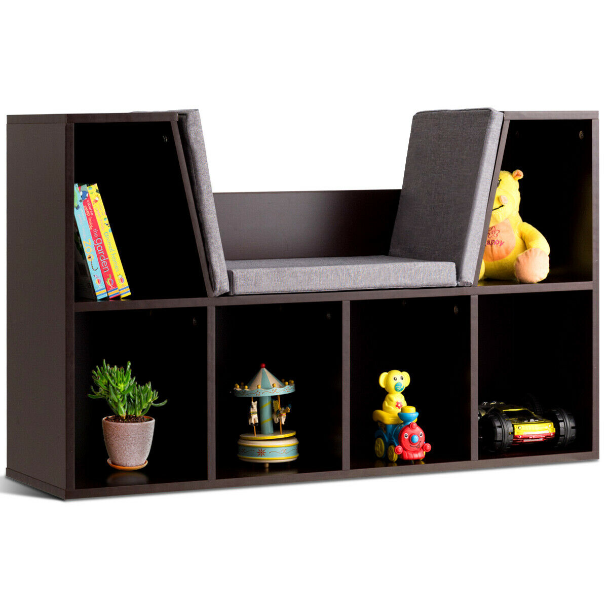 Costway 6 Cubby Kid Storage Cabinet Cushioned Bookcase Multi-Purpose Reading Shelf Brown
