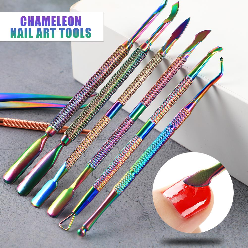 Double-end Cuticle Pusher Nail Remover Pusher Dead Skin Remover Gel Nail Polish Nail Cleanser Sticks For Manicure Nail Art Tools