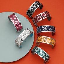 Legenstar Bracelets Argent Flower bijoux acier inoxydable femme 2021 manchette Bangles Reversible Leather Band Jewelry bijoux