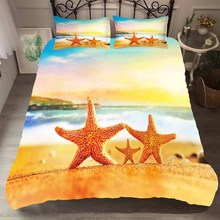 Linens Bedding Set Kids Soft Material Starfish in the Sunset Printed Home Textiles Duvet Cover King Single Size Bedding Coverlet