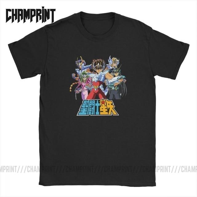 Männer der Saint Seiya T Shirts Ritter von die Sternzeichen Saint Seiya 90s Anime Reine Baumwolle Kurzarm T shirt Sommer T Shirt