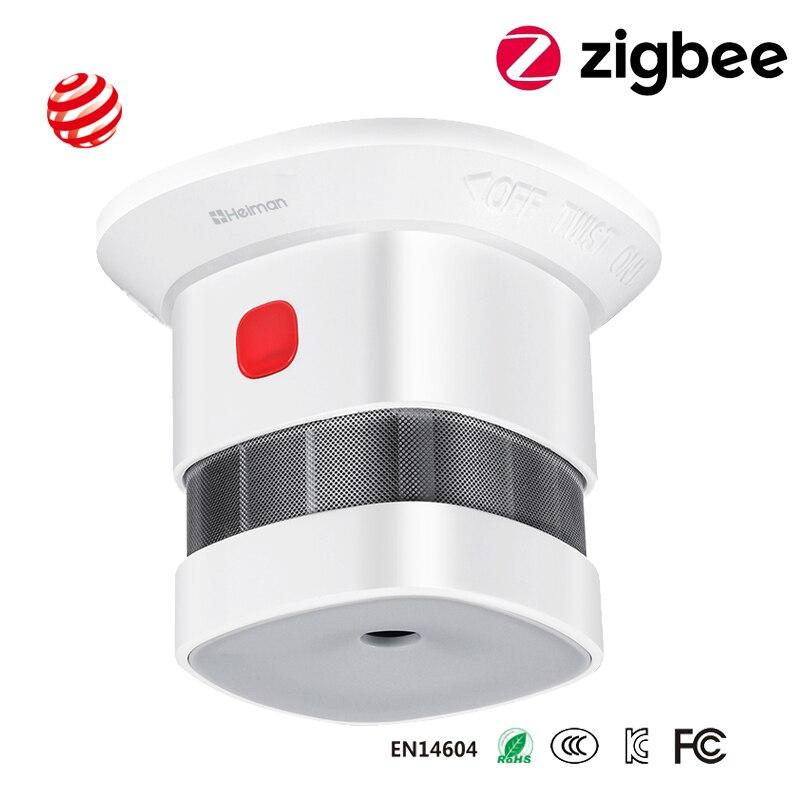 Беспроводной умный противопожарный датчик дыма Zigbee, датчик умного дома s 2,4 ГГц, высокая чувствительность, встроенная батарея