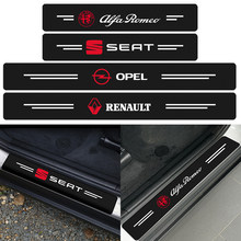4Pcs Carbono Emblema Do Carro do Peitoril Da Porta Protector Etiqueta Para Audi A1 A3 A4 A5 A6 A7 A8 Q2 Q3 Q5 Q7 C7 C6 C5 B6 B7 B8 B5 B9 8R 8P 8V 8L