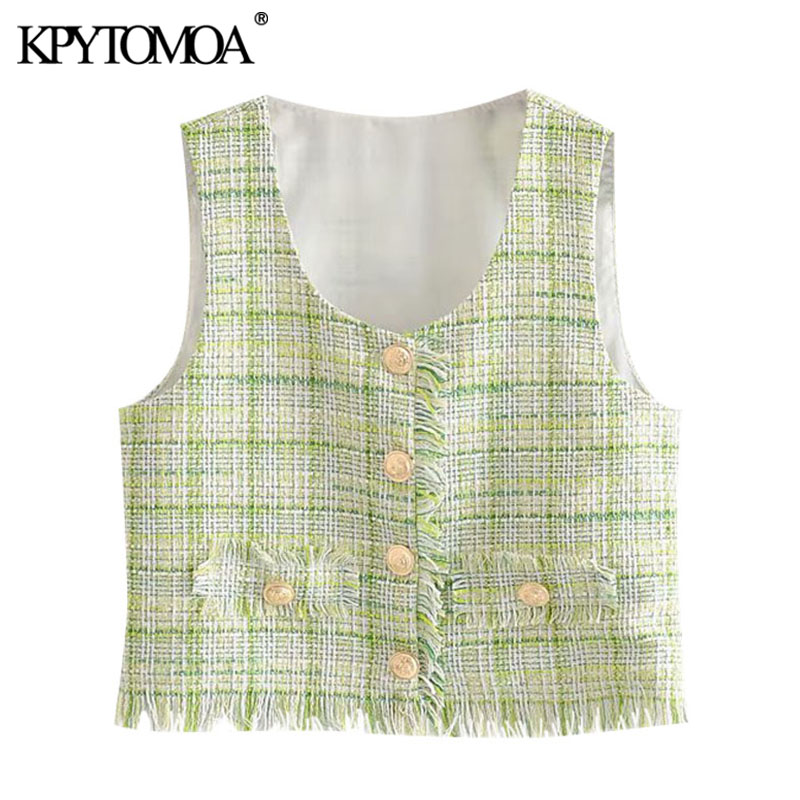 KPYTOMOA Women 2020 Sweet Fashion Frayed Tassel Tweed Plaid Waistcoat Vintage V Neck Sleeveless Female Vest Outerwear Chic Tops