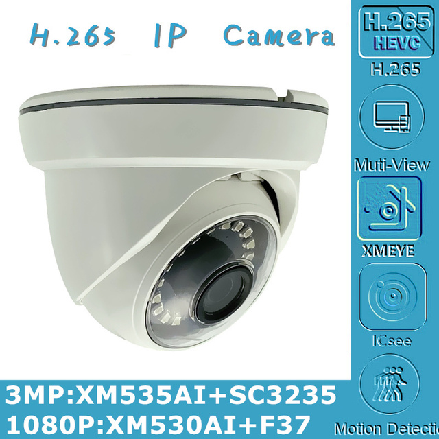 3MP 2MP H.265 IP Ceiling Dome Camera Indoor 2304*1296 XM535AI+SC3235 1080P XM530+F37 Onvif CMS XMEYE IRC P2P Motion Detection