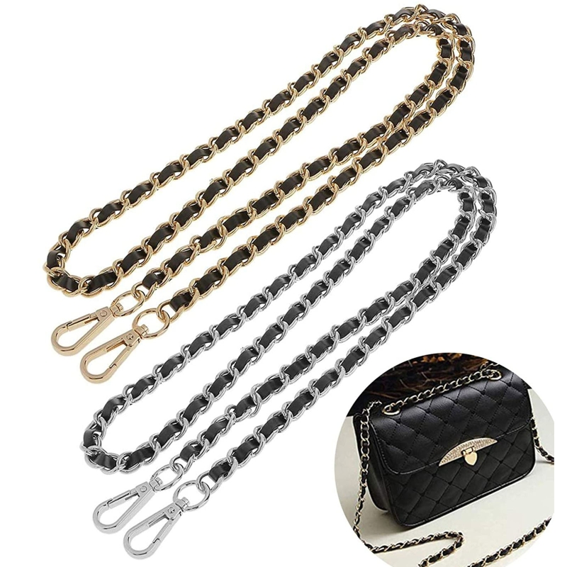 120/130cm Replacement Chain & PU Synthetic Leather Shoulder Crossbody Straps Bags/Handbag/Handle/Purse