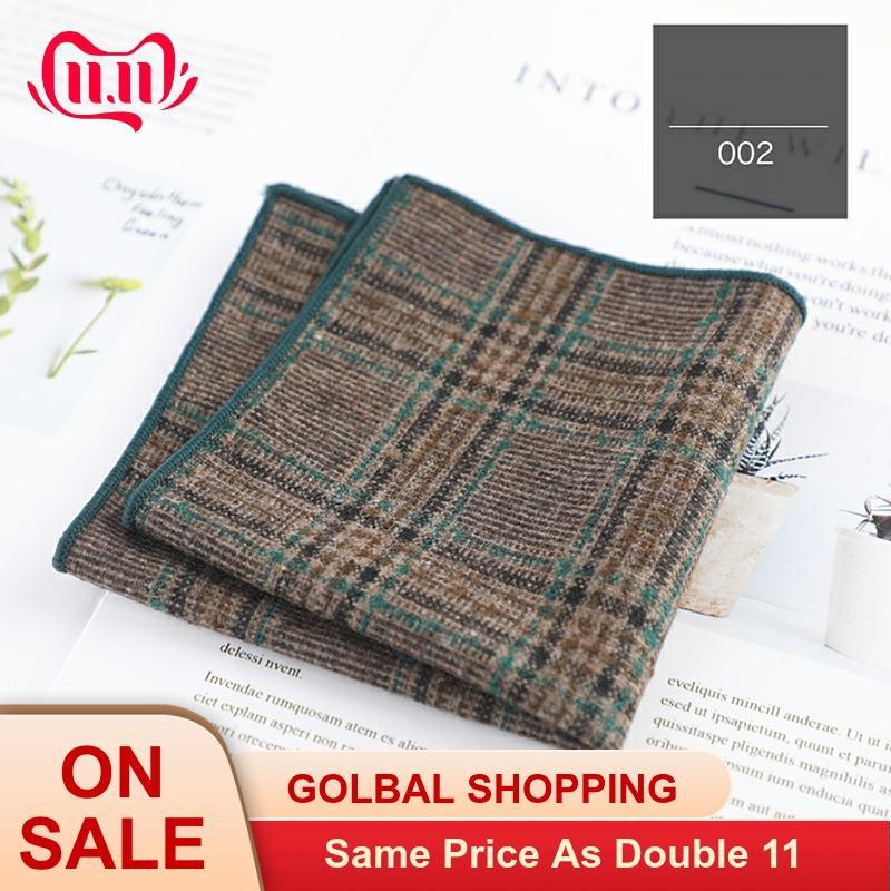Plaid Pattern Classic Color Pocket Square Men Scarf Male Suit Accessories Gentlemen High Quality Cotton Made Soft