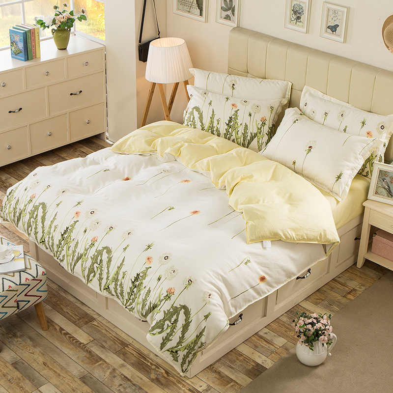 100% Cotton Duvet Cover Dandelion Print Bed Cover for Kids Adults Single Double Bed Bedroom Use XF650-15 (No Pillowcase)