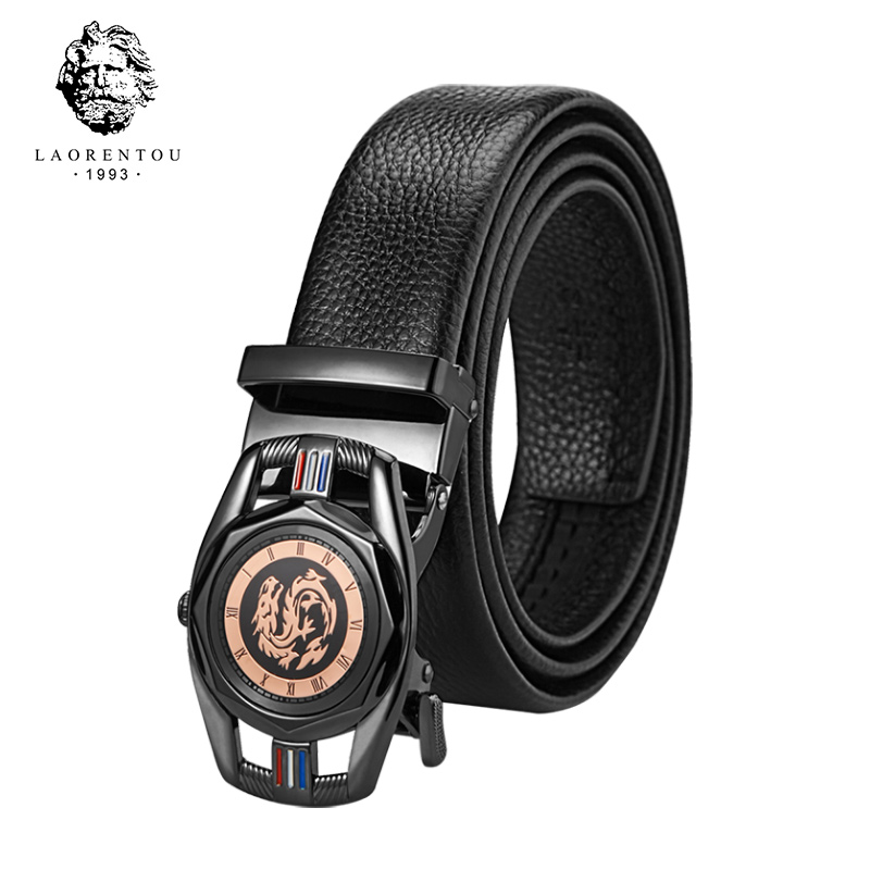 LAORENTOU Brand Men's Split Leather Belts Male Cuttable Belt Replacement Belts with Buckle Gentleman High Quality Belt for Male
