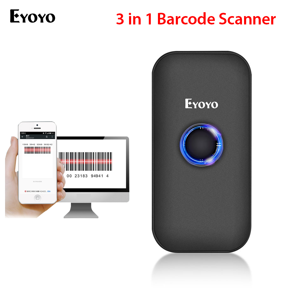 Eyoyo Barcode Scanner Mini Wireless Decoding Connection-Modes CCD BT Pocket-2.4g Capability