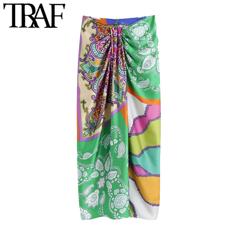TRAF Women Chic Fashion With Knot Printed Front Vents Midi Skirt Vintage High Waist Back Zipper Female Skirts Mujer