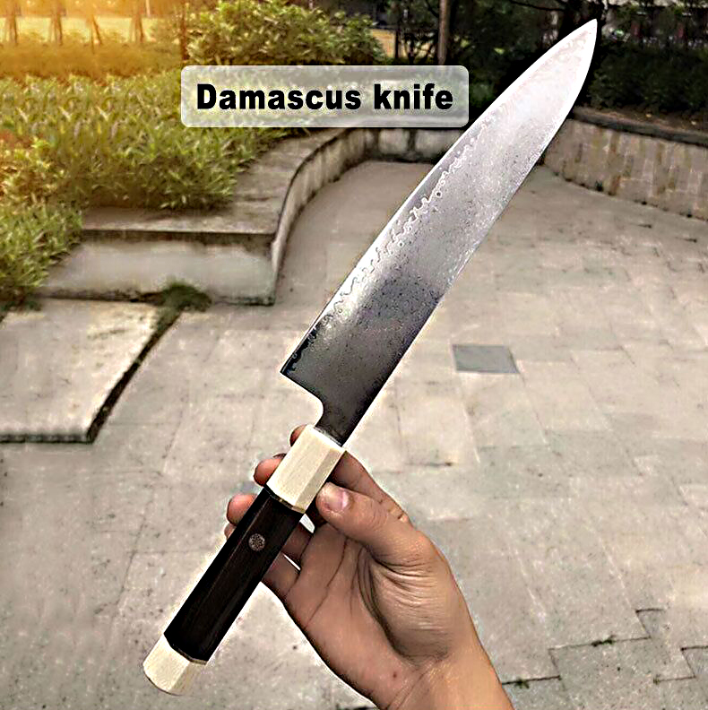 GEMOTU Damascus kitchen knife household kitchen knife sharp kitchen knife slice knife chef's special knife vg10 steel knife
