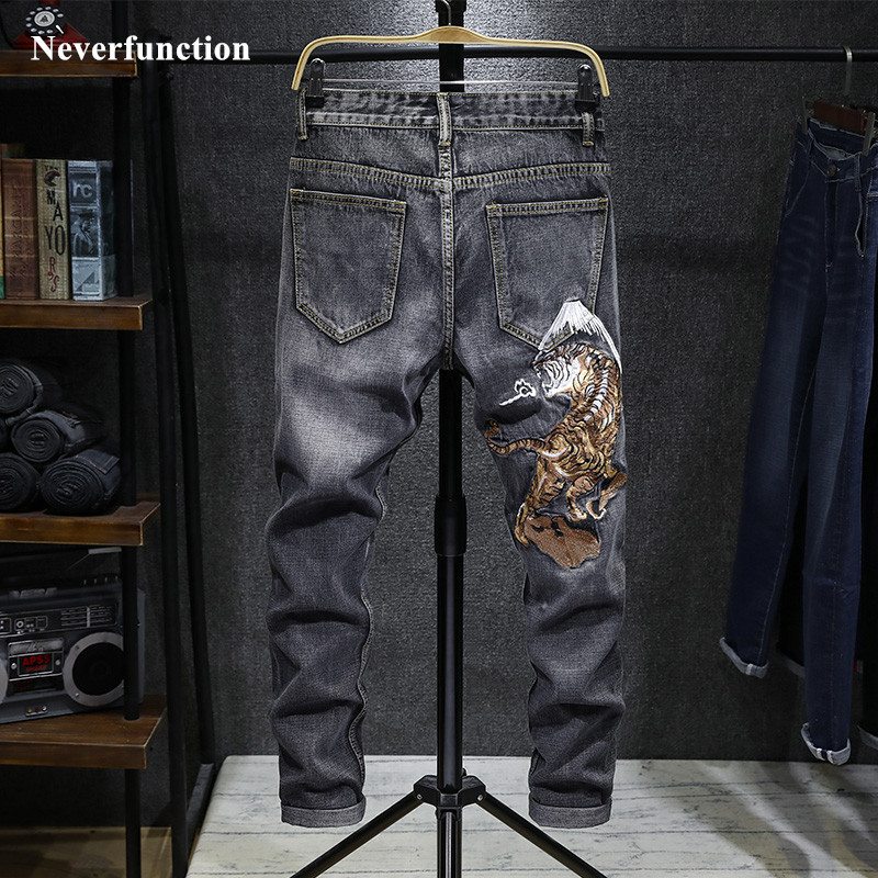 Streetwear Men Japanese Chinese Style Tiger Embroidery Stretch Slim Fit Jeans Hip Hop Cotton Man Casual Jogger Denim Trousers