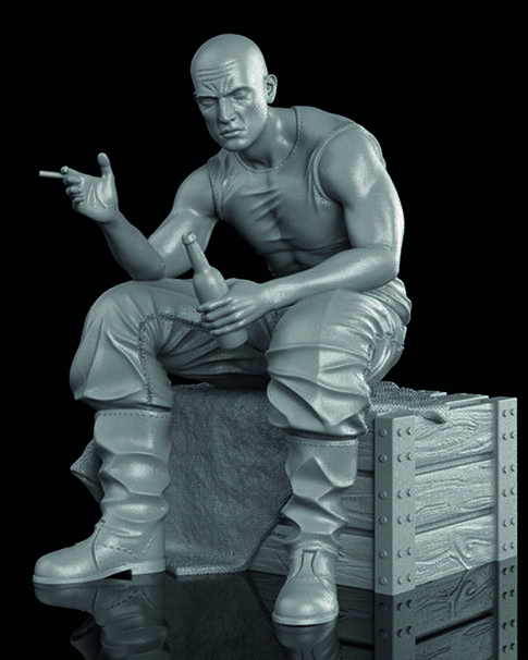 1/35 Man Sitting Drinking With Base    Resin Figure Model Kits Miniature Gk Unassembly Unpainted
