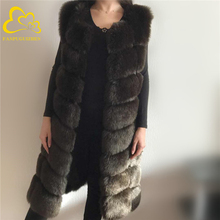 Winter Coat Vest Fox-Fur Fake Warm Long-Artifical Women Fashion Sleeveless Medium 90cm