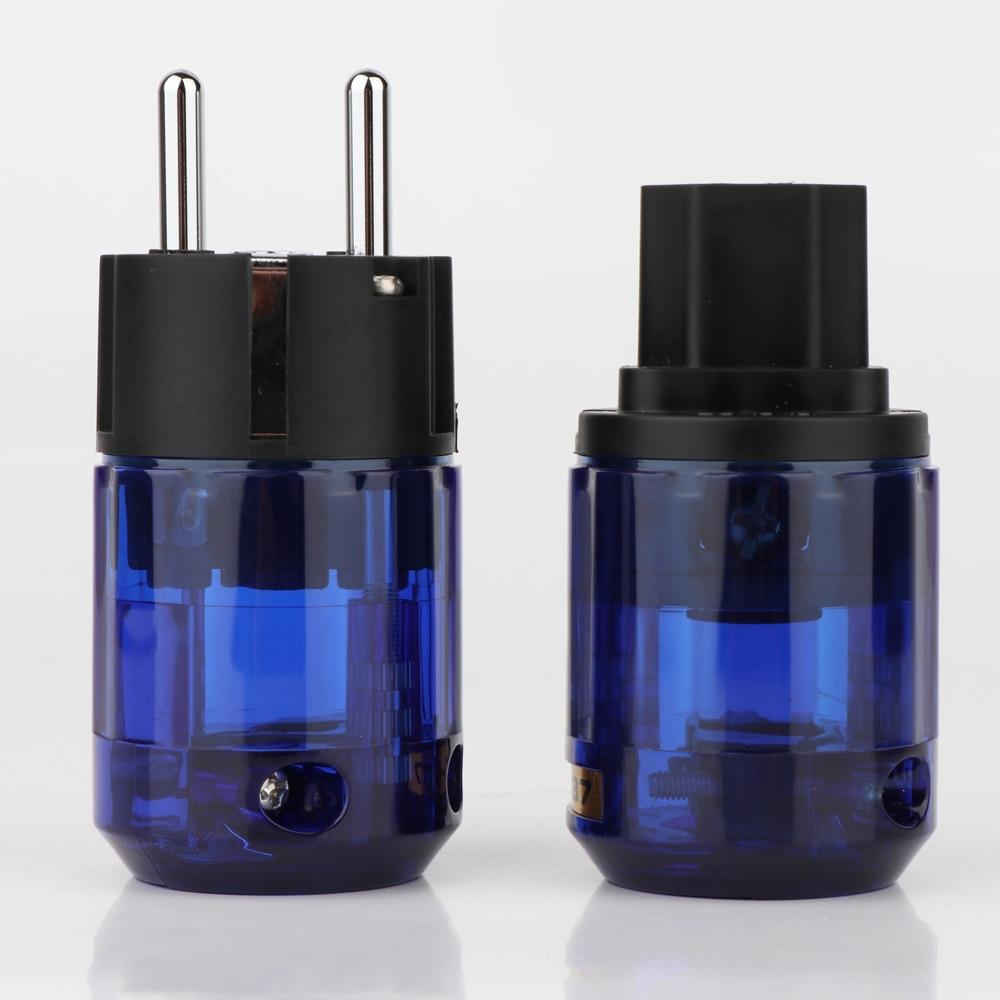Set P-037E Rhodium Plated EU Power Connector C-037 IEC Female  HIFI-End Supply Cable Conntact Plug