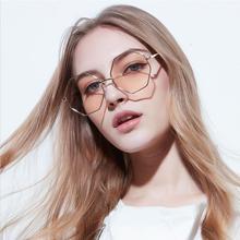 2019 шестигранник солнцезащитные очки женщин небольшие рамки многоугольника мужчины Марка дизайнер синий розовый прозрачные линзы солнцезащитные очки Женщины солнечные очки UV400