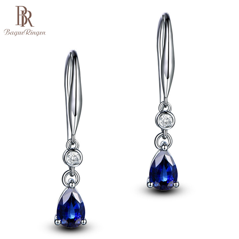Bague Ringen Silver 925 Jewelry Earrings Sapphire Siver Korean Ear Jewelry Purple/Blue/Yellow Color Party Dating Gift Wholesale