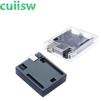 Czarny ABS obudowa z tworzywa sztucznego powłoki przezroczyste pudełko dla Arduino UNO R3 tanie i dobre opinie cuiisw CN (pochodzenie) Nowy REGULATOR NAPIĘCIA UNO R3 Case do komputera