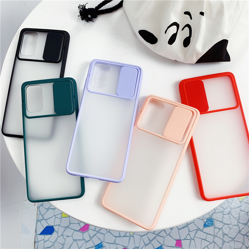 For Samsung A51 Case Slide Camera Lens Protection Case For Samsung Galaxy S20 Ultra S20plus A71 A31 A41 Transparent Matte Cover