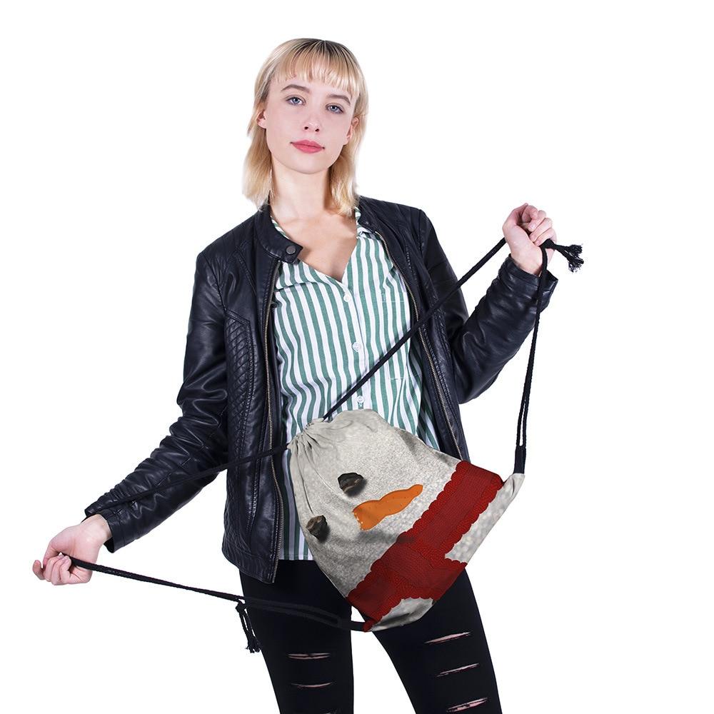 Rope Bag Women Bundle Pocket Cross-border Christmas Shoulder Bag With 3-D Digital Printing Girls School Drawstring Backpack New