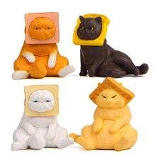 4 pçs/set novidade toast cat pvc estatueta em miniatura modelos de alimentos animais mascote animal de estimação bonecas diy figura ação brinquedos presentes