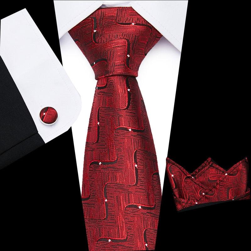 Men`s Tie 8cm 100% Silk  Woven Necktie + Hanky  + Cufflinks Sets For Formal Wedding Business Party L10003