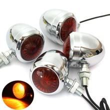 2/4Pcs 12V Universal Retro Metal Chrome Motorcycle Turn Signal Indicator Halogen Light Bulb Lamp Vintage Amber