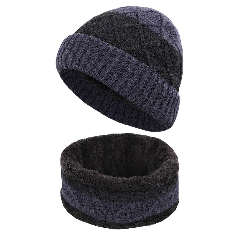 2Pcs/set Unisex Slouchy Hat Scarf Set Practical Winter Plush Velvet Lined Knit Thermal Hat Neck Warmer Cap