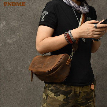 PNDME vintage crazy horse cowhide men small messenger bag fashion casual genuine leather wide shoulder strap