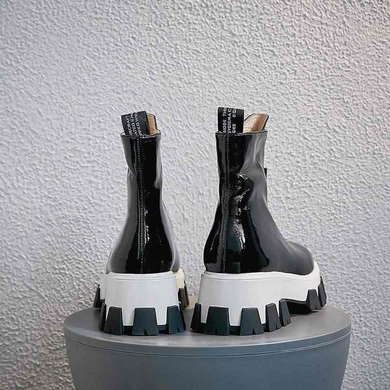 Krazing pot inek deri kristal ön fermuar eğlence yuvarlak ayak Fransız romantik punk tasarım kalın alt orta buzağı çizmeler l51