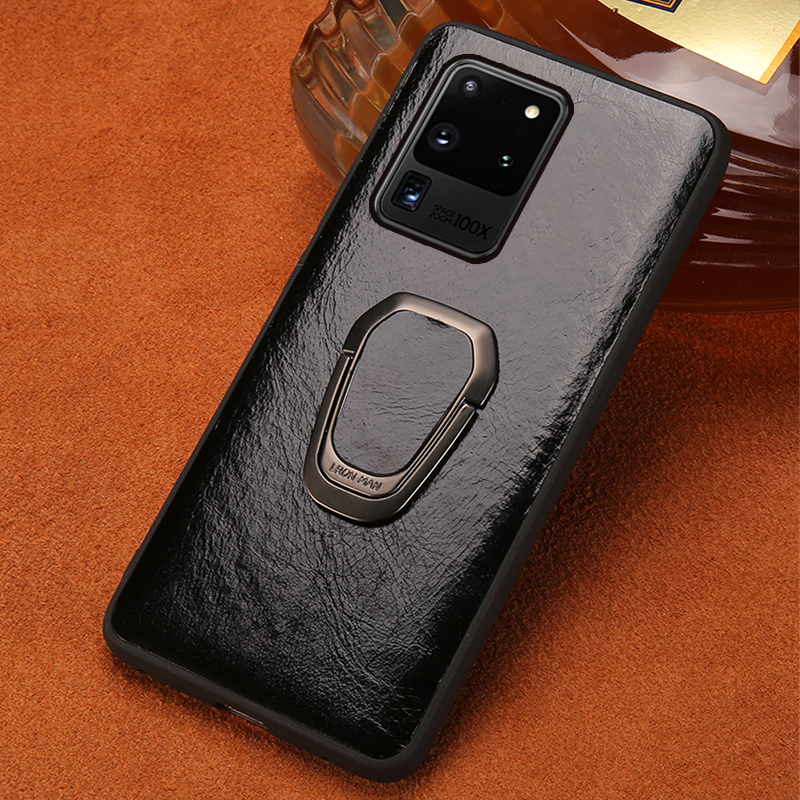 LANGSIDI Luxury phone <font><b>case</b></font> <font><b>with</b></font> <font><b>ring</b></font> For samsung S20 S20+ plus S10 10+ s9 s8 <font><b>note</b></font> 8 <font><b>9</b></font> magnetic Genuine leather cover original image