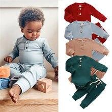 Ropa para bebé recién nacido, conjuntos de ropa Lisa acanalada para primavera y otoño, monos de manga larga + Pantalones elásticos, 2 uds.