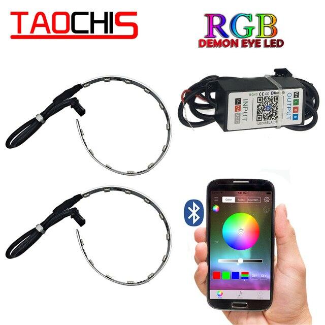 TAOCHIS 2 قطعة السيارات RGB العلوي العارض Led الشيطان العين شيطان العين مصباح لسيارة App التحكم عن بعد العارض كشافات عيون الملاك