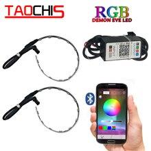 TAOCHIS 2 sztuk Auto RGB reflektor projektor Led diabelskie oko Demon Eye lampa dla samochodów pilot aplikacji sterowania projektor reflektor angel eyes