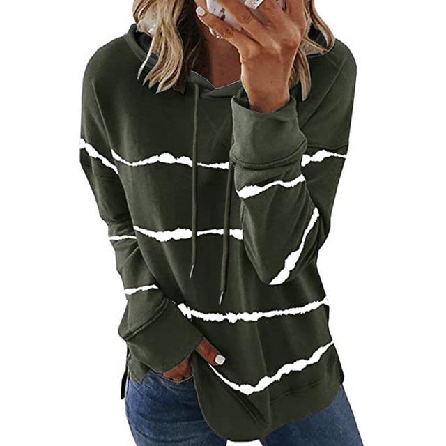 Oversize Women Tie Dye Drawstring Hooded Sweatshirt Autumn 2020 New Winter Long Sleeve Casual Loose Hoodies Tops Plus Size S-5XL 3