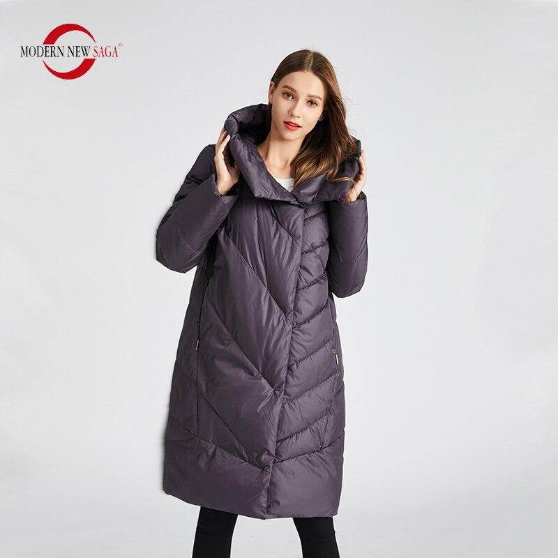 MODERN NEW SAGA 2019 Winter Coat Women Cotton Padded Coat Winter Jacket Parka Women Long Jacket Hooded Thick Warm Winter Coats