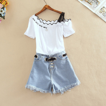 Summer New Contrast Color Beading Embroidery Letter T-shirt+Tassel Lace Up Button Denim Shorts Two-piece Women's Sweet Suit Sets letter embroidery t shirt