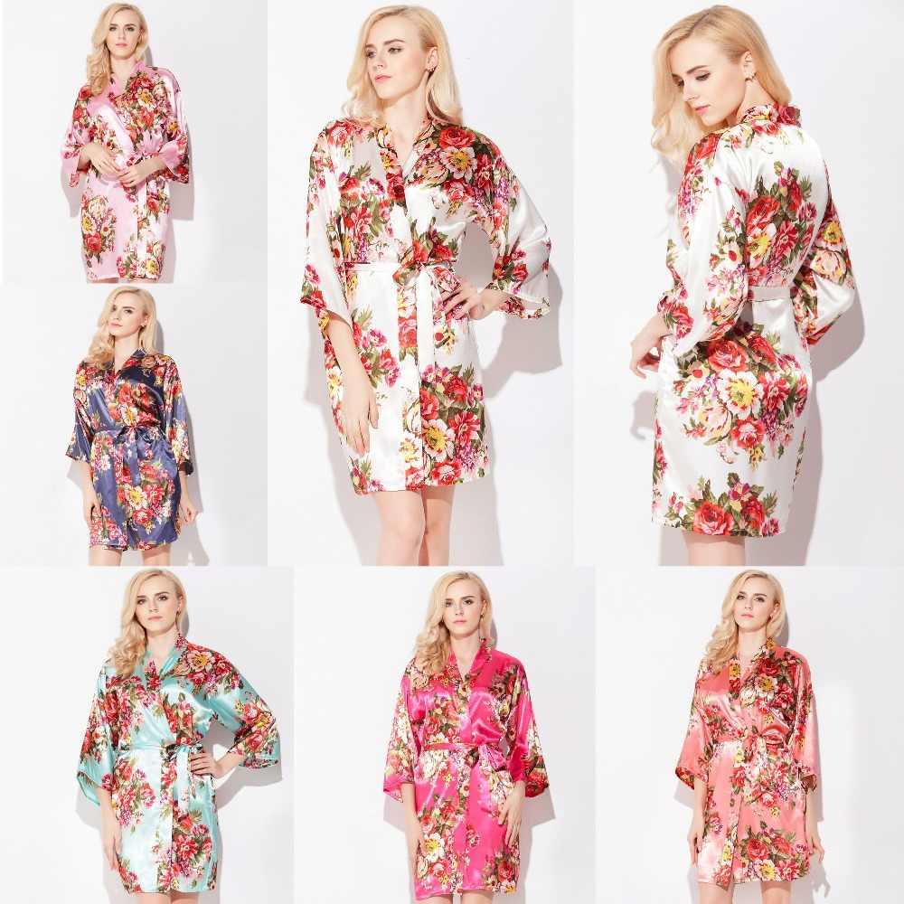 YUXINBRID חדש חתונת הכלה שושבינה פרחוני חלוק סאטן זהורית חלוק כתונת לילה לנשים קימונו הלבשת פרח בתוספת גודל