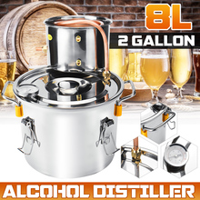 2 Gallon 8L Distiller Alambic Moonshine Alcohol Still Stainless Copper DIY Home Brew Water Wine Brandy Essential Oil Brewing Kit