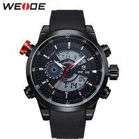 Weide relógio masculino militar de quartzo relógio de luxo do exército lcd display duplo 3atm resistente à água relógio despertador militray relógios de pulso masculino