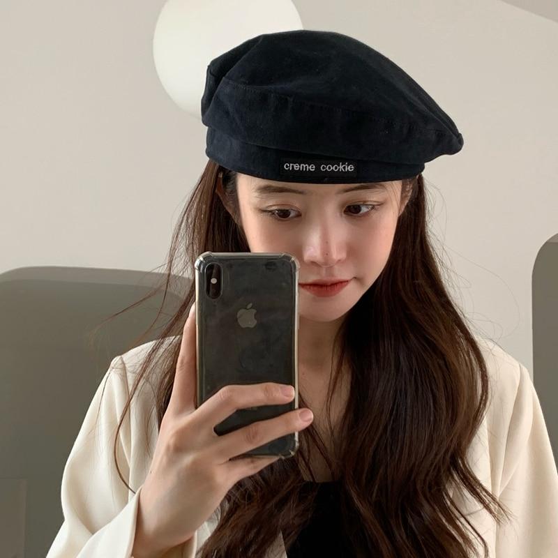 INS Japanese-style Black Letter Beret Female Summer British Style Vintage Painter Hat Versatile Cyber Celebrity Octagonal Cap